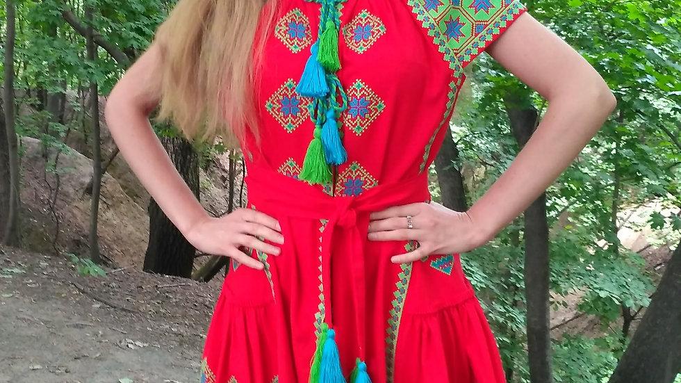 Сукня етнічна червона