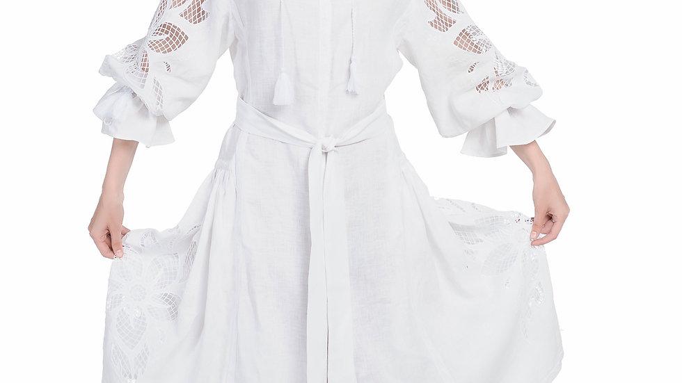 """Сукня  """"Дивоквітка"""" біла міді"""
