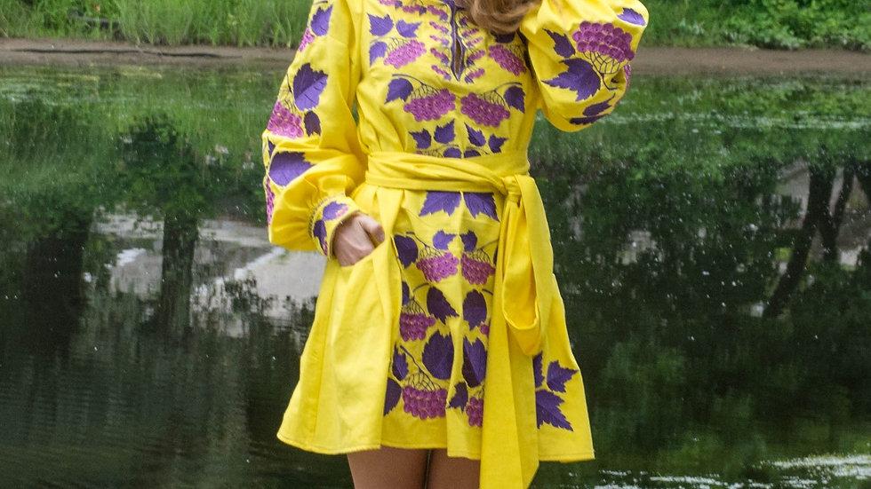 """Сукня """"Калина""""міні жовта"""