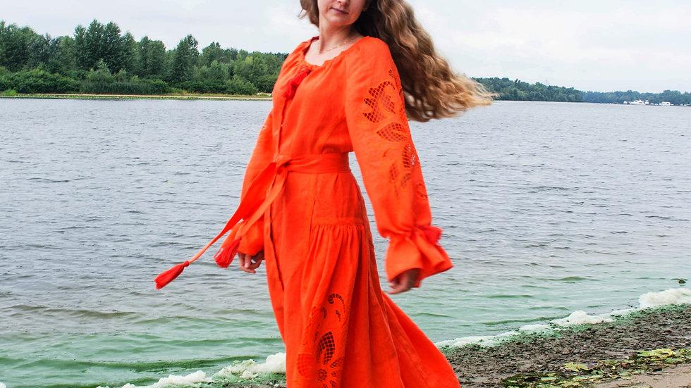 """Сукня  """"Дивоквітка"""" оранжева максі"""