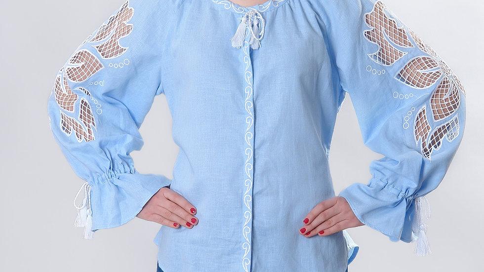 """Блузка  """"Дивоквітка"""" блакитна"""