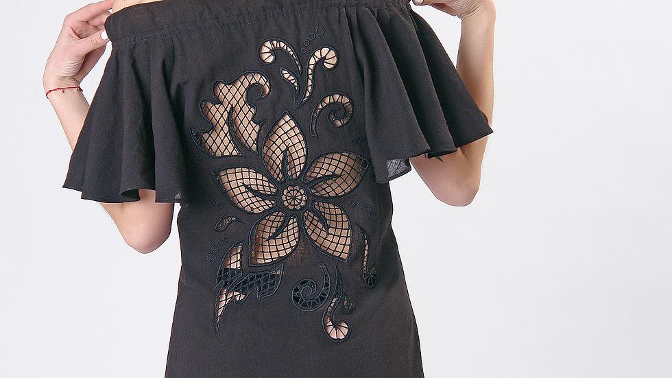 """Сукня  """"Дивоквітка"""" чорна міні"""