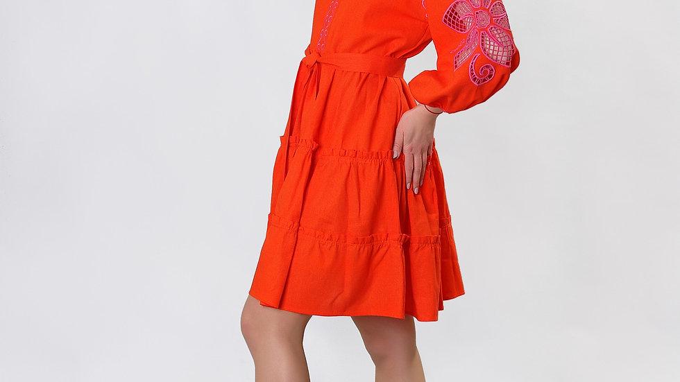 """Сукня  """"Дивоквітка"""" оранжева міні"""