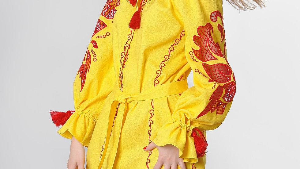 """Сукня  """"Дивоквітка"""" жовта міні"""
