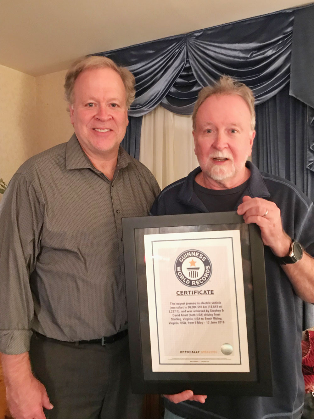 Steve and Dave Ahart with Guinness World Record Certificate