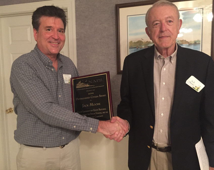 Mike Presents Plaque to Jack Moore