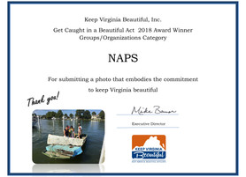 "NAPS Wins ""You Got Caught"" Award From Keep Virginia Beautiful"