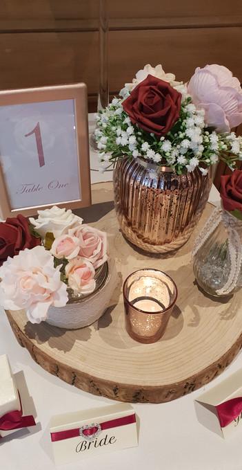 Rose Gold & Red Rustic Log