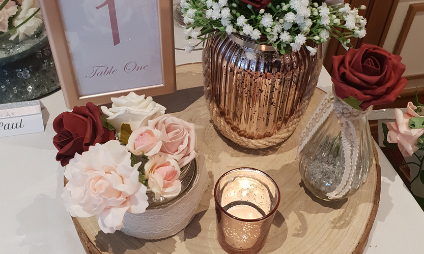 Rose Gold & Red Rustic Log