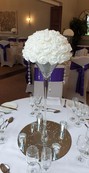 Martini vase white foam head