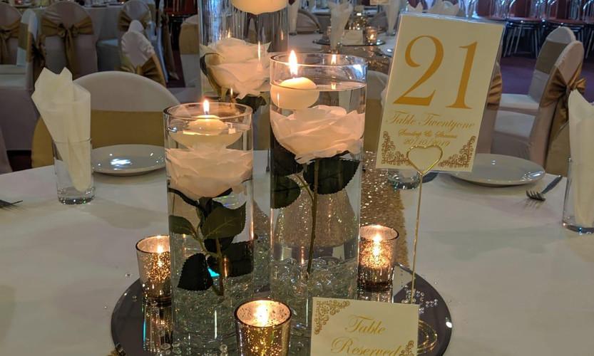 Cylinder vase champagne theme