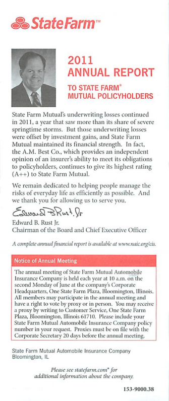 2011 Annual Report - To State Farm Mutual Policyholders