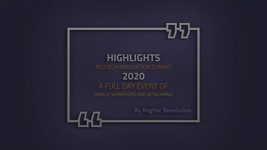 Highlights RegTech Innovation Summit 2020