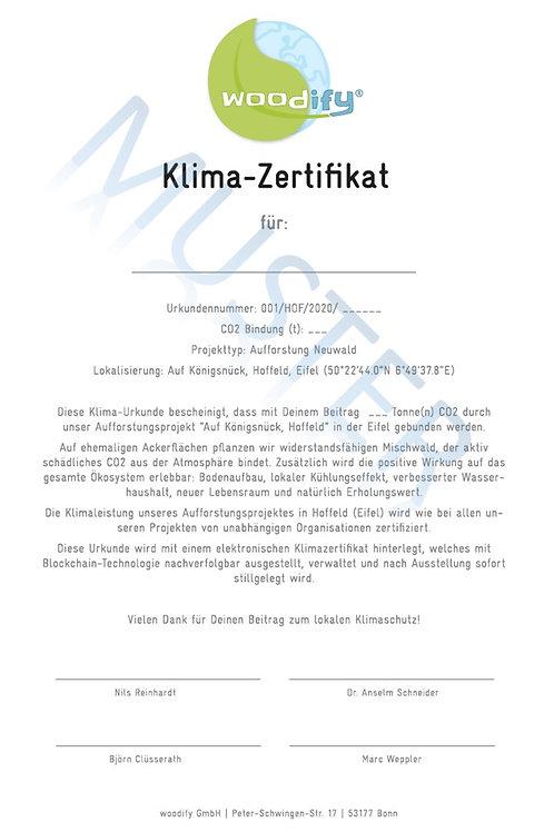 Gedrucktes woodify Klima-Zertifikat - Preis inkl. MwSt.