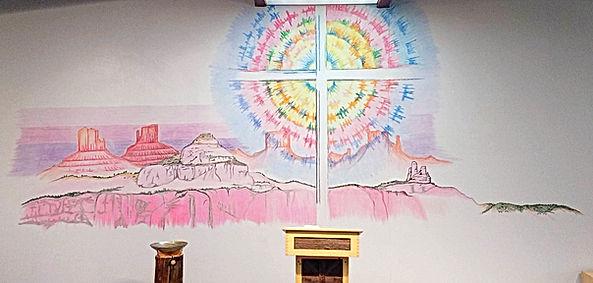Christ over the Navajo Nation artwork by Darryl Holtsoi