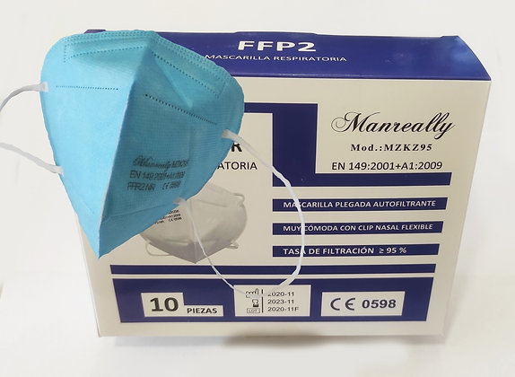 Mascarillas FFP2 Azul  Celeste (Caja 10 uds.)