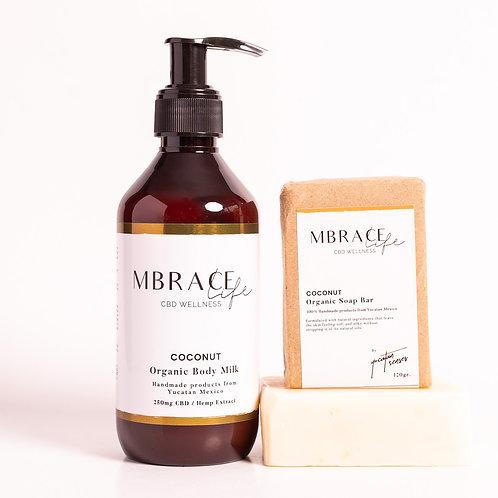 Coconut set, Organic Body Milk and Soap bar