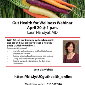 Gut Health for Wellness Webinar April 20 2020 @ 1 p.m. with Lauri Nandyal, MD