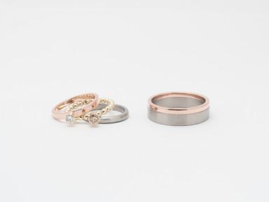 Roodgoud, geelgoud, titanium, wit en bruin diamant