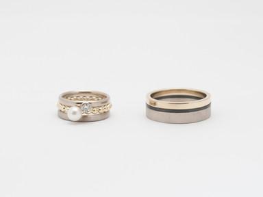 Witgoud, geelgoud, zirkonium, witte parel en diamant
