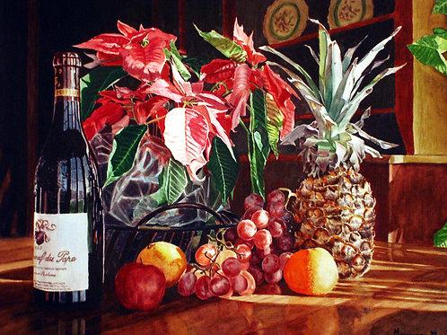 Poinsettias and Fruit