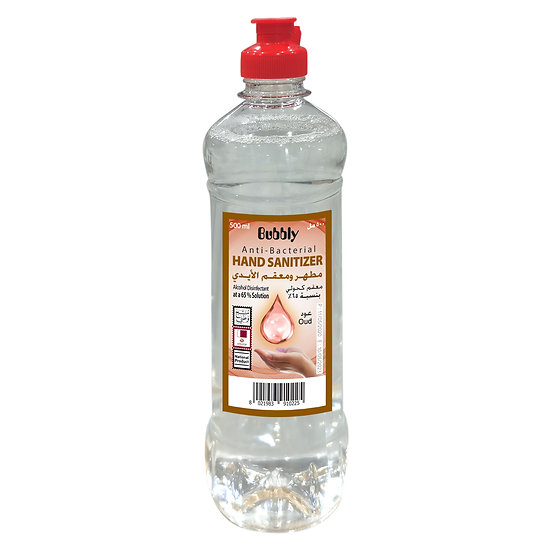 Bubbly Hand Sanitizer LIQUID oud 70% ALCOHOL 500ml