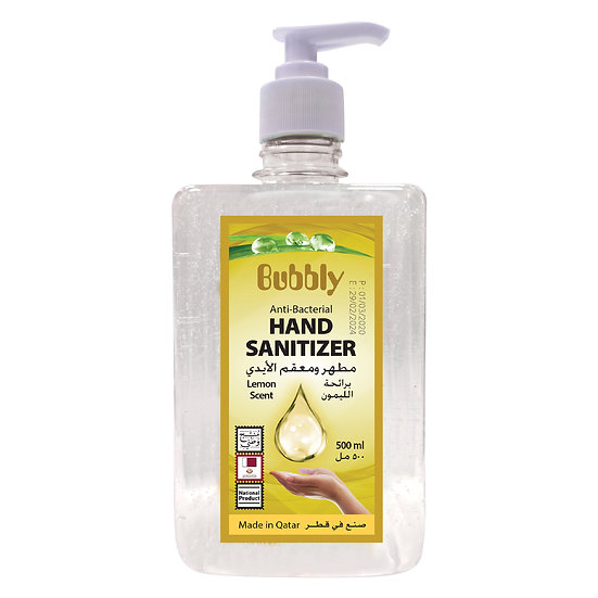 Bubbly Hand Sanitizer GEL Lemon 70% ALCOHOL 500ML