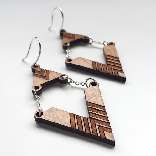 Triangular Tribal Chain Earrings