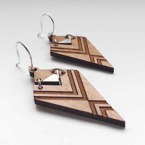 Engraved Chevron Drop Earrings