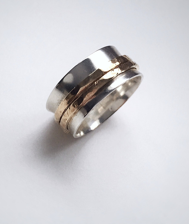 Custom Brass & Silver Meditation Ring