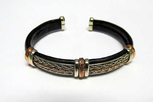 Flexible Leather Mixed Metal Cuff Bracelet Style 1