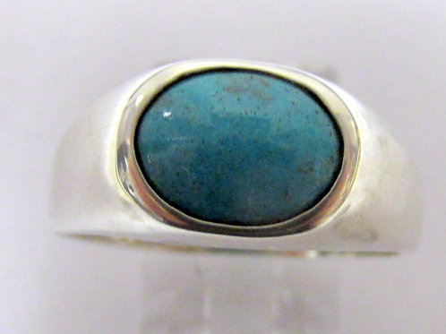 Sterling Silver Bisbee Turquoise Gents Ring Size10