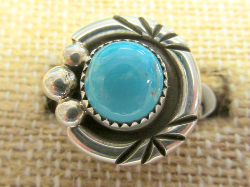 Bisbee Turquoise Ring Ornate Setting Blue Stone Size 7