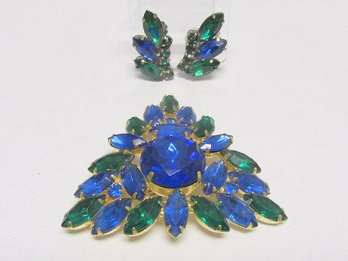 Mid Century Glitzy Blue Green Rhinestone Set