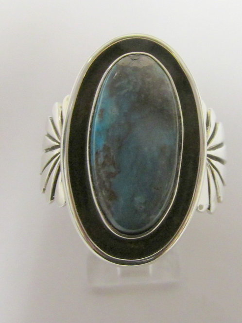 Heavy Sterling Silver Bisbee Turquoise Ring Sz 9.5