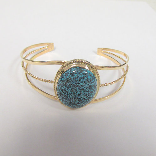 14K Natural Kingman Spiderweb Turquoise Bracelet