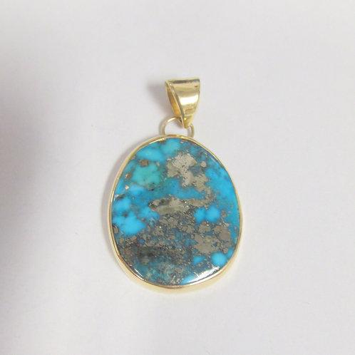 14K Natural Morenci Turquoise Pendant