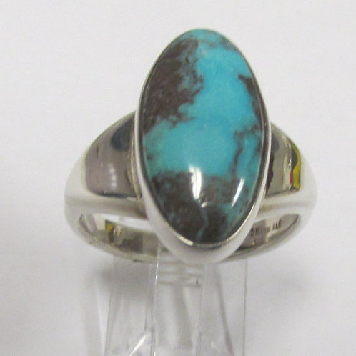 Sterling Silver Bisbee Turquoise Ring Size 9.5