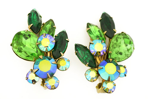 Vintage Rhinestone Clip On Earrings Glitzy!