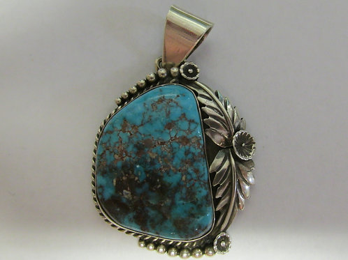 """Big 1.5"""" x 1.5"""" Bisbee Turquoise Pendant by Dean Lunt"""