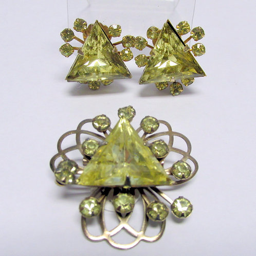 Retro Mid Century Yellow Earring and Brooch Set
