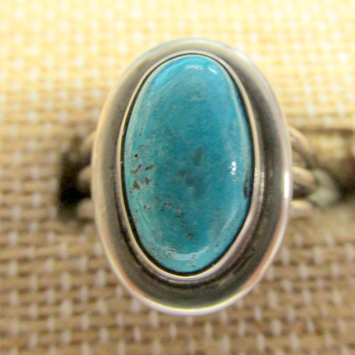 Bisbee Turquoise Ring Blue Oval Stone Size 6