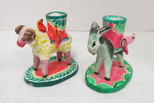 Vintage Mexican Candle Stick Holders Colorful