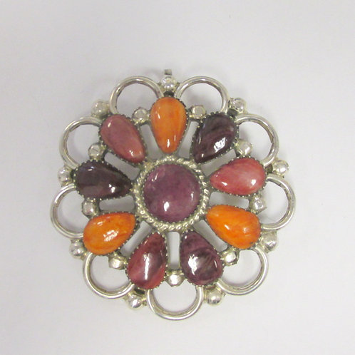 Zuni Inlay Brooch/Pendant Spiny Oyster Signed PW