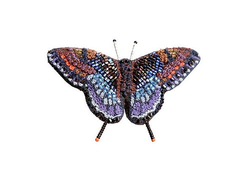 Trovelore Red Spotted Purple Butterfly Embellished Pin New in Box Handcrafted
