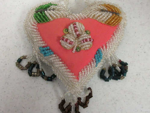 Circa 1920 Iroquois Beaded Heart Quality Beadwork