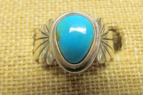 Unique Blue Bisbee Turquoise Ring Size 7