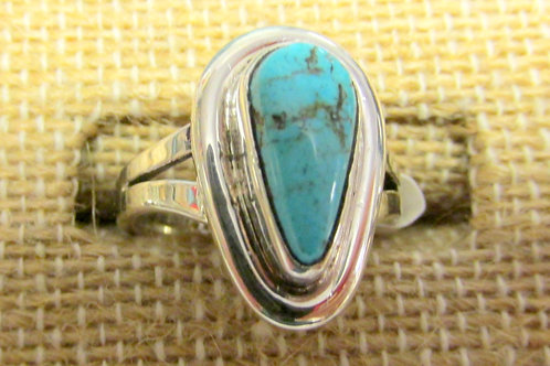 Bisbee Turquoise Ring Size 5 Teardrop Shaped Stone
