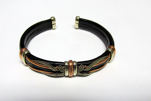 Flexible Leather Mixed Metal Cuff Bracelet Style 2