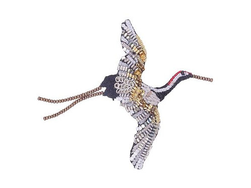 Trovelore Flying Crane Embellished Pin New in Box Handcr